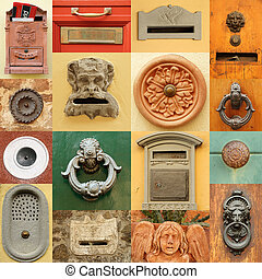 retro, 입구, 문, 항목, 이탈리아