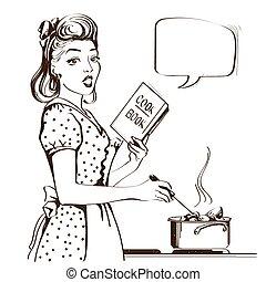 retro, 젊은 숙녀, 요리, 수프, 에서, 그녀, 부엌, room.vector, 문자로 쓰는, 삽화