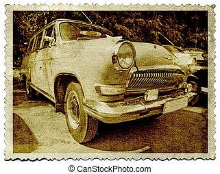 retro, 차, 통하고 있는, 늙은, 사진술