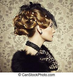retro, 초상, 의, 아름다운, woman., 포도 수확, 스타일