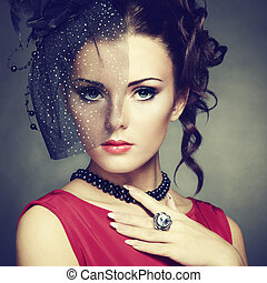 retro, 초상, 의, a, 아름다운, woman., 포도 수확, 스타일