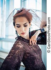 retro, 초상, 의, a, 아름다운, woman., 포도 수확, style., 유행, 사진