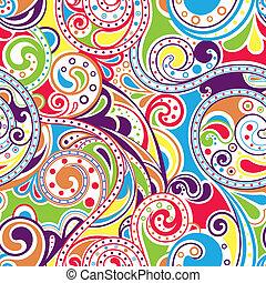 retro, 케케묵은, 두루마리, 패턴, 4