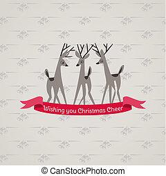 retro, 크리스마스 카드, -, 치고는, 초대, 축하, 에서, 벡터