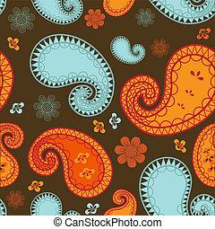 retro, 패턴, 와, 사치, paisley.