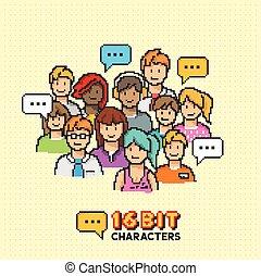 retro, 16-bit, pessoas, caráteres
