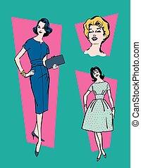 retro, 1950s, kvinnor