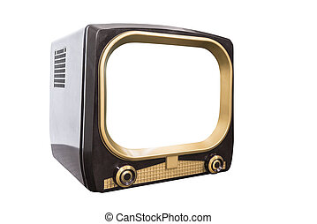 Retro 1950s Television Isolated with Cut Out Screen