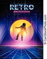 Retro 1980's digital neon background