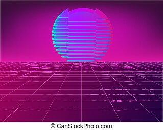 Retro 1980's glowing neon sun background