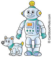retro, 2, robot, tecknad film