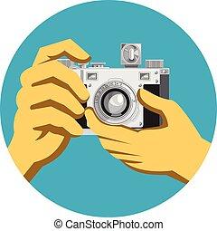 Retro 35mm Film Camera Clicking