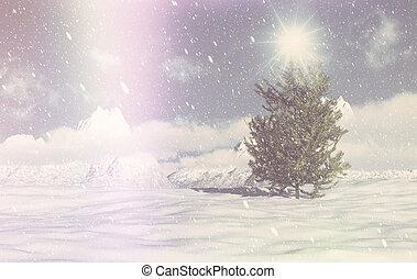retro, 3d, boże narodzenie, zima scena