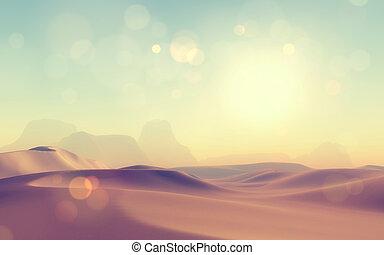 retro, 3d, cena, deserto, denominado