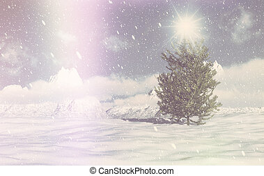 retro, 3d, cena, inverno, natal