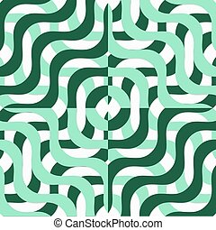 Retro 3D green wavy squares