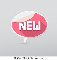 Retro 3d Pink Vector New Tag, Label