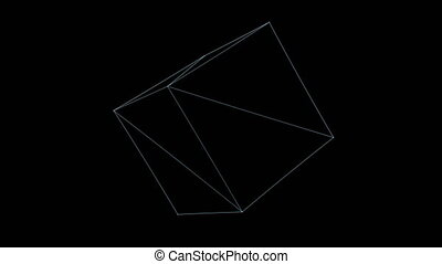 Retro 3D Vector Cube Rotation - Wireframe of a rotating cube...