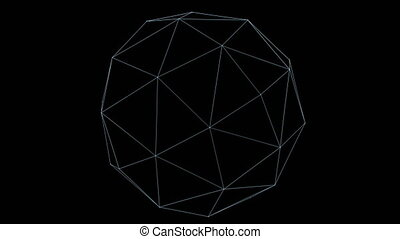 Retro 3D Vector Poly Ball - Wireframe of a rotating polygon...