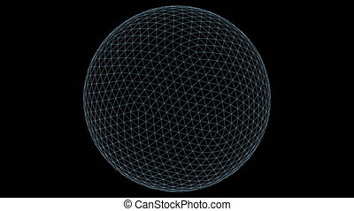 Retro 3D Vector Sphere Wireframe - Wireframe of a sphere...