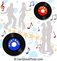 Retro 45 RPM Disco Record Hop - Retro 45 RPM records, for a...