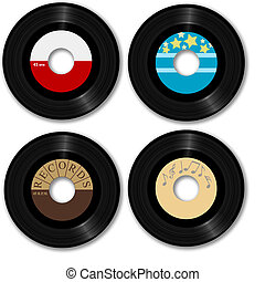 45 RPM records. Make your own music labels. Ultra-clean photo-real Illustrations, clipping-paths.