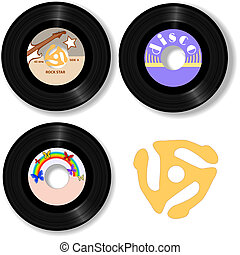 Retro 45 RPM Records & Spindle Adapter