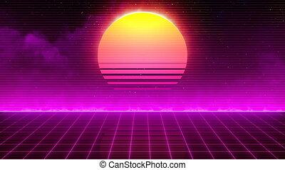retro, 80년대, 태양
