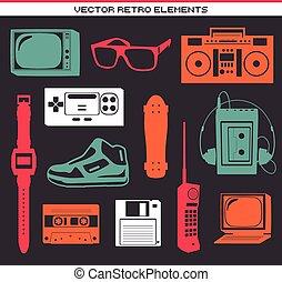 Retro 80 vintage elements set