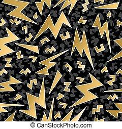 Retro 80s 90s thunder bolt ray pattern gold fancy - Fancy...