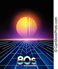 Retro 80's Background - retro 1980's style neon digital...