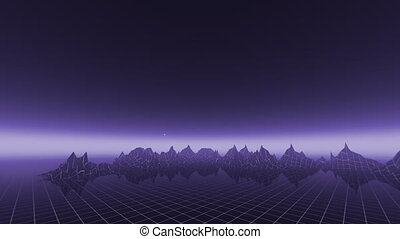 Retro 80s Grid Landscape