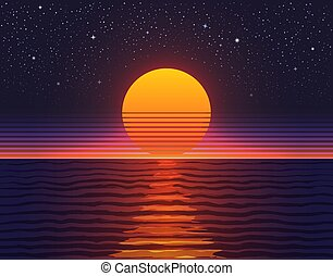 Retro 80s illustration. Sunset over big water