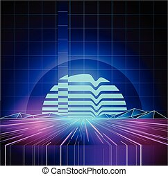 Retro 80s Neon Future Background - Retro 1980s Neon future...