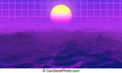 Retro-futuristic 80s synth wave ocean sun grid background. Perfectly seamless looped animation.