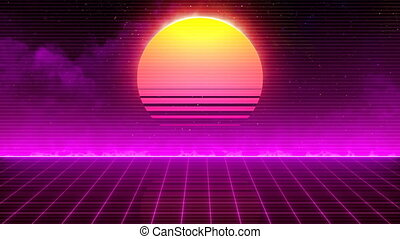 Retro 80s Sun - Retro-futuristic 80s synthwave sun grid...