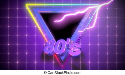 Retro-futuristic 80s intro triangle grid background. Perfectly seamless looped opener animation.
