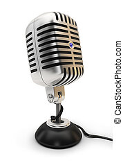 microphone - Retro a microphone. 3d image. Isolated white...