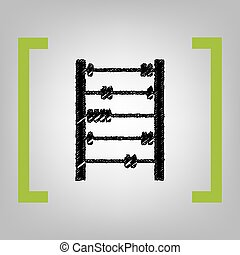 Retro abacus sign. Vector. Black scribble icon in citron brackets on grayish background.