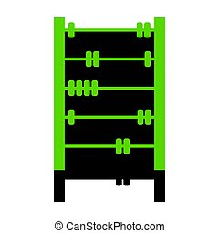 Retro abacus sign. Vector. Green 3d icon with black side on whit