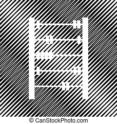 Retro abacus sign. Vector. Icon. Hole in moire background.