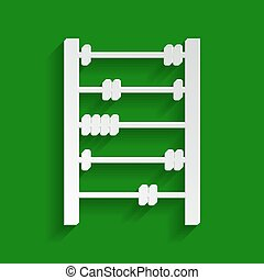 Retro abacus sign. Vector. Paper whitish icon with soft shadow on green background.