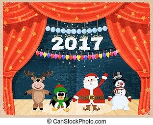 retro, abertos, vermelho, teatro, cortina, com, estrelas, snowflakes, guirlanda, e, santa, claus., vindima, cartão