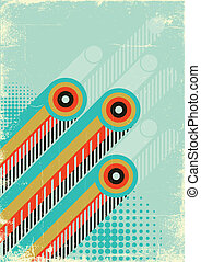Retro abstract background for design on old paper with grunge el