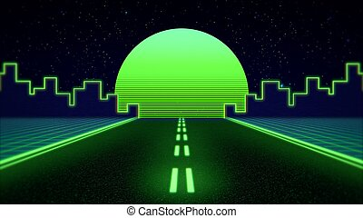 Retro abstract background, green road and city