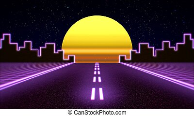 Retro abstract background, purple road and city