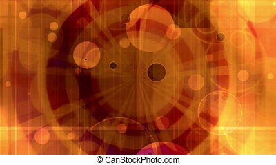 Retro abstract circles looping animated CG background in orange and red