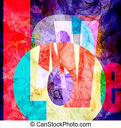 Retro abstract design composition Love font - Retro abstract...
