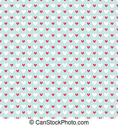 Retro abstract heart seamless pattern. Vector illustration for romantic nostalgia design. Can be used for wallpaper, cover fills, web page background, surface textures. Red and white hearts on blue