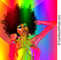 retro, abstract, meisje, afro